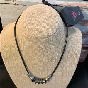 Silver and black corded Necklace